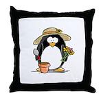 Gardening Penguin Throw Pillow