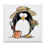 Gardening Penguin Tile Coaster