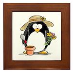 Gardening Penguin Framed Tile