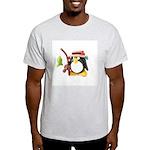Clay Fishing Penguin Ash Grey T-Shirt