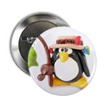 Clay Fishing Penguin Button