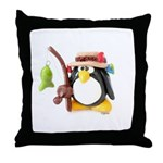 Clay Fishing Penguin Throw Pillow