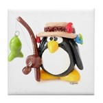 Clay Fishing Penguin Tile Coaster