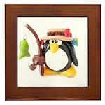 Clay Fishing Penguin Framed Tile