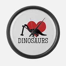 I Love Dinosaurs Large Wall Clock
