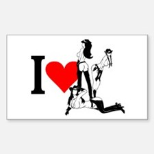 I heart Cowgirls Rectangle Decal