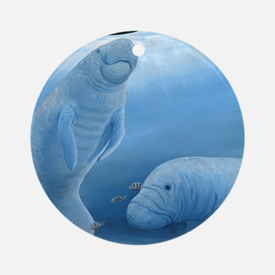 manatee haven square Round Ornament