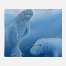 manatee haven square Throw Blanket