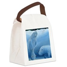 manatee haven square Canvas Lunch Bag