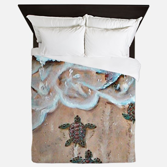 Race To The Sea round Queen Duvet