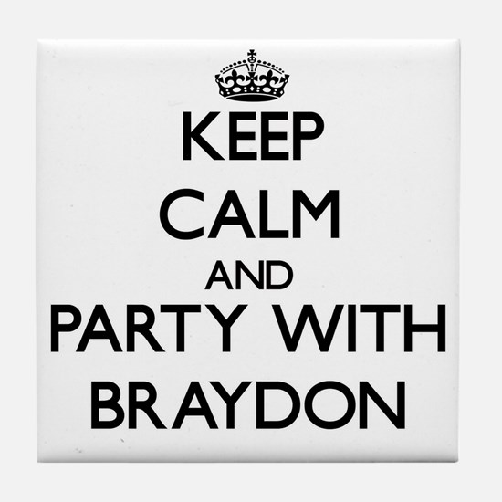 Keep Calm and Party with Braydon Tile Coaster