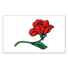 A Single Perfect Red Rose Rectangle Decal