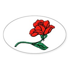 A Single Perfect Red Rose Oval Decal