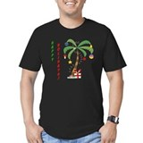 Beach christmas Fitted Dark T-Shirts