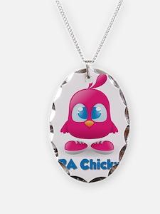 RA Chicks Cute Pink Chicky Necklace Oval Charm