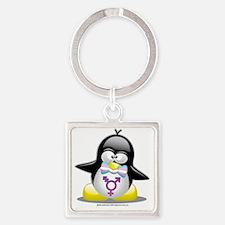 Transgender-Penguin Square Keychain
