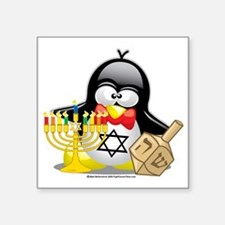"Penguin-Hanukkah Square Sticker 3"" x 3"""