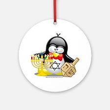Penguin-Hanukkah Round Ornament