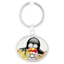 Penguin-Hanukkah Oval Keychain