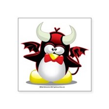 "Penguin-Devil Square Sticker 3"" x 3"""