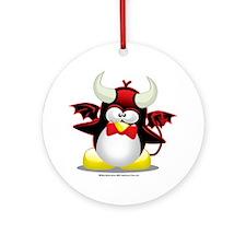 Penguin-Devil Round Ornament