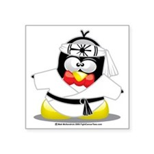 "Karate-Penguin Square Sticker 3"" x 3"""