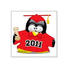 "Graduation-Penguin-2011-Red Square Sticker 3"" x 3"""