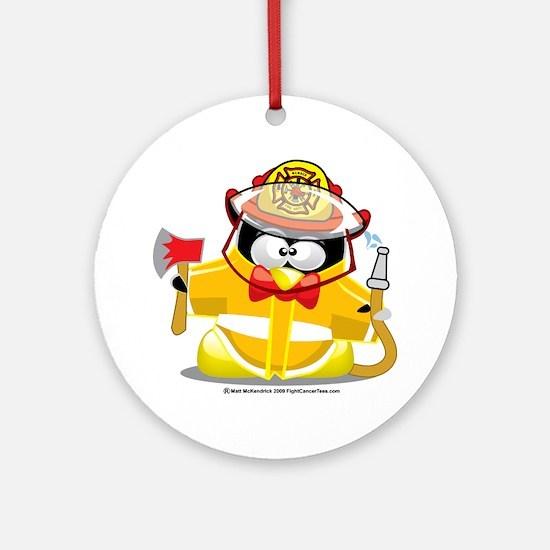 Fireman-Penguin Round Ornament