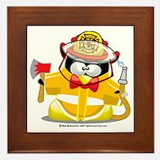 Fireman-Penguin Framed Tile