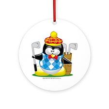 Golf-Penguin Round Ornament