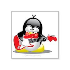 "Electric-Guitar-Penguin Square Sticker 3"" x 3"""