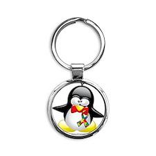 Autism-Penguin Round Keychain