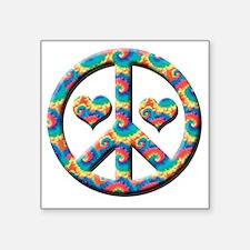 """Peace love hearts Square Sticker 3"""" x 3"""""""
