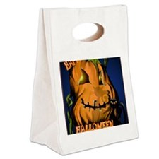 Fat Pumpkin and Black Kitty Post Canvas Lunch Tote
