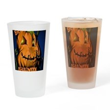 Fat Pumpkin and Black Kitty PosterP Drinking Glass