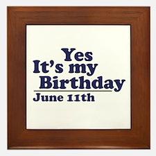 June 11 Birthday Framed Tile