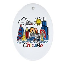 Chicago Cute Kids Skyline Ornament (Oval)