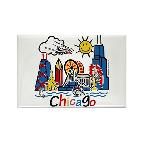 Chicago Cute Kids Skyline Rectangle Magnet
