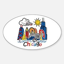 Chicago Cute Kids Skyline Decal