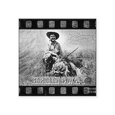 "Ernest Hemingway and Lion Square Sticker 3"" x 3"""