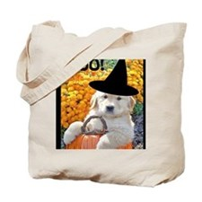 Happy Halloween Funny Puppy Witch Greetin Tote Bag