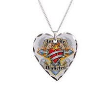 Juvenile-Diabetes-Cross--Hear Necklace Heart Charm