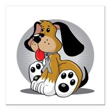 """Diabetes-Dog-blk Square Car Magnet 3"""" x 3"""""""
