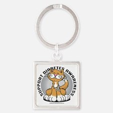 Paws-for-Diabetes-Cat Square Keychain