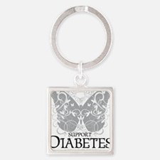 Diabetes-Butterfly Square Keychain