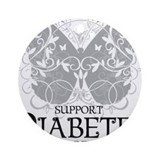 Diabetes-Butterfly Round Ornament