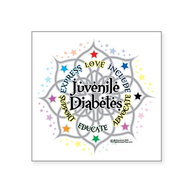 Juvenile diabetes lotus square sticker 3 x 3 by admin for Stickers juveniles