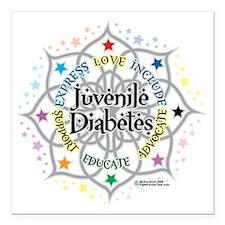 "Juvenile-Diabetes-Lotus Square Car Magnet 3"" x 3"""