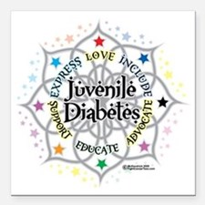"Juvenile-Diabetes-Lotus Square Car Magnet 3"" x 3"""
