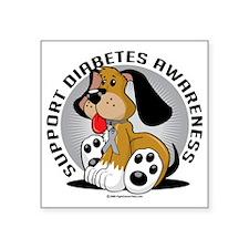 "Diabetes-Dog Square Sticker 3"" x 3"""